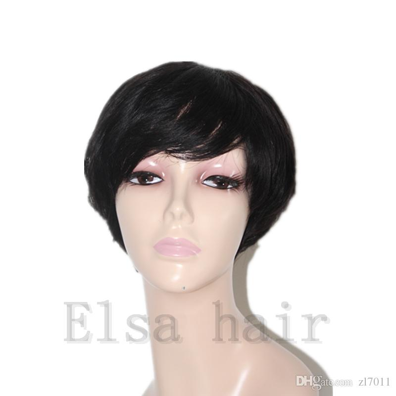 Human hair wigs unprocessed 7Atop grade front full lace human hair wig machine made glueless Rihanna Chic Cut Short Wigs for black women