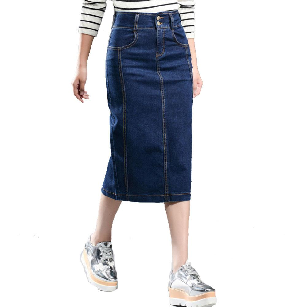 2017 Denim Skirt Women Plus Size New 2017 Casual High Waist Denim ...