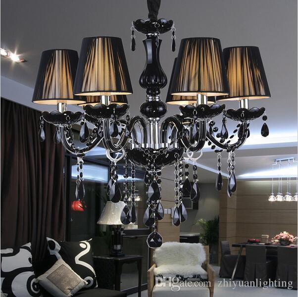Modern Black Crystal Chandeliers Lighting Lampshades Antique Brass Lustres De Sala Moderno Dining Room Chandlier Lights Cheap Chandelier