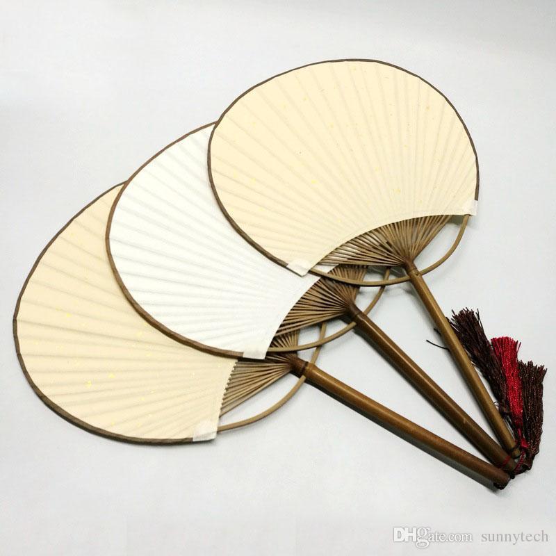 Japanischer Art-weißer Paddel-Handfan mit Quasten-Gastgeschenk-Handwerks-Fans, die Andenken ZA4502 Wedding sind