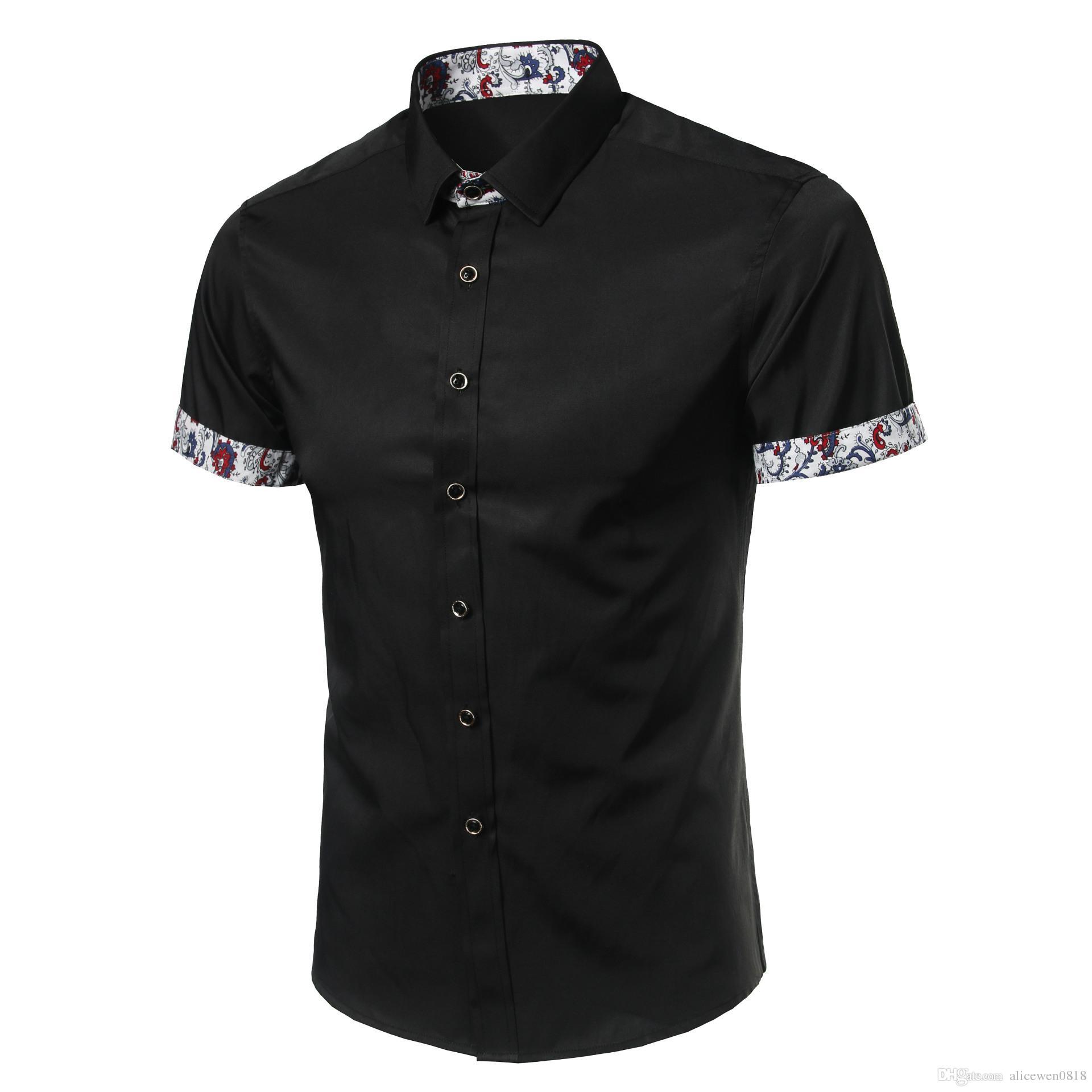 Compre Camisa De Hombre Marca De Diseñador 2017 Camisas De Manga Corta  Masculinas Casual Slim Fit Camisas De Vestir Negras Para Hombre Hawaiano M  ~ 4XL A ... 89547b57848