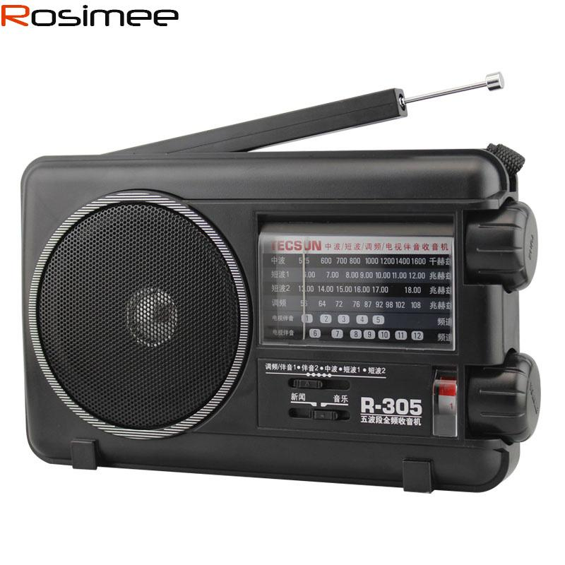 Wholesale-TECSUN R305 digital radio Retail-Wholesal FM MW SW TV Bands receiver r-305 Portable Radio With Built-In Speaker Digital Receiver