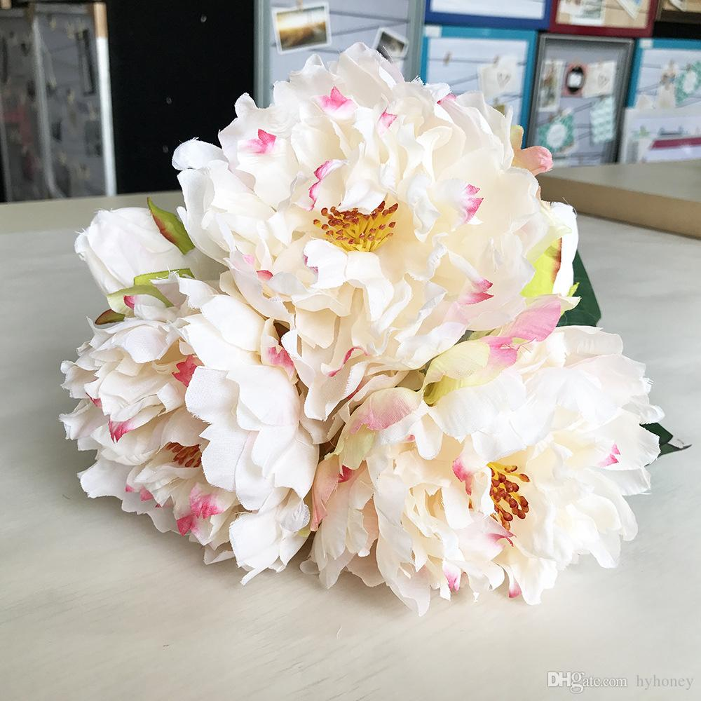 2018 Peony Home Decorative Flowers Artificial Silk Flowers Branches