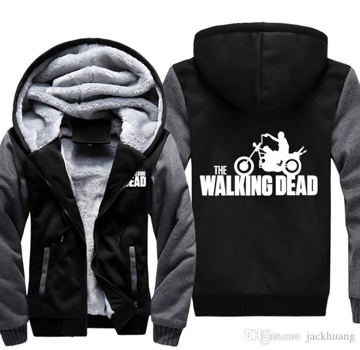 La felpa con cappuccio Walking Dead Zombie Daryl Dixon Wings Inverno Fleece Mens Felpe Moto equitazione Felpa con cappuccio USA EU Taglia S-3XL Spedizione gratuita