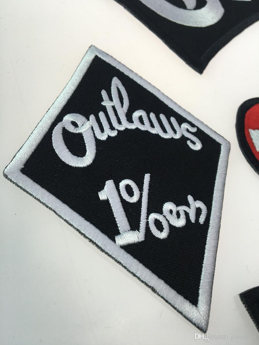 Outlaw Chicago прощает вышитое железо на патчах Мода Большой размер для байкерской куртки Полная задняя на заказ