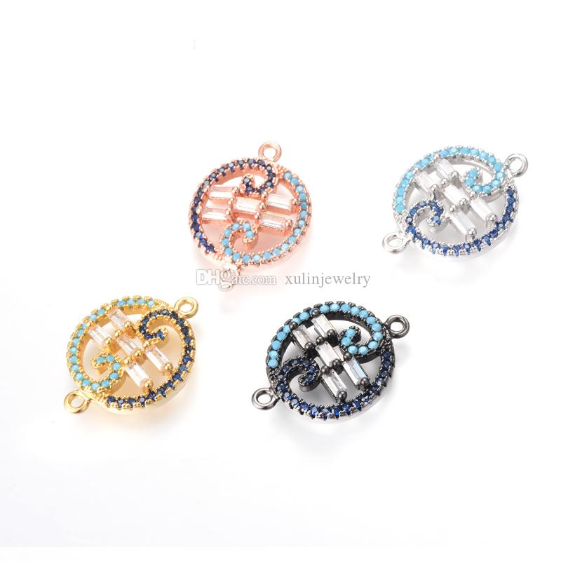 351ea259c9a Acheter 4 Couleur Bijoux Faire Charms Creux Courbe Bracelet Connecteur Eco  Friendly Micro Pave Charme