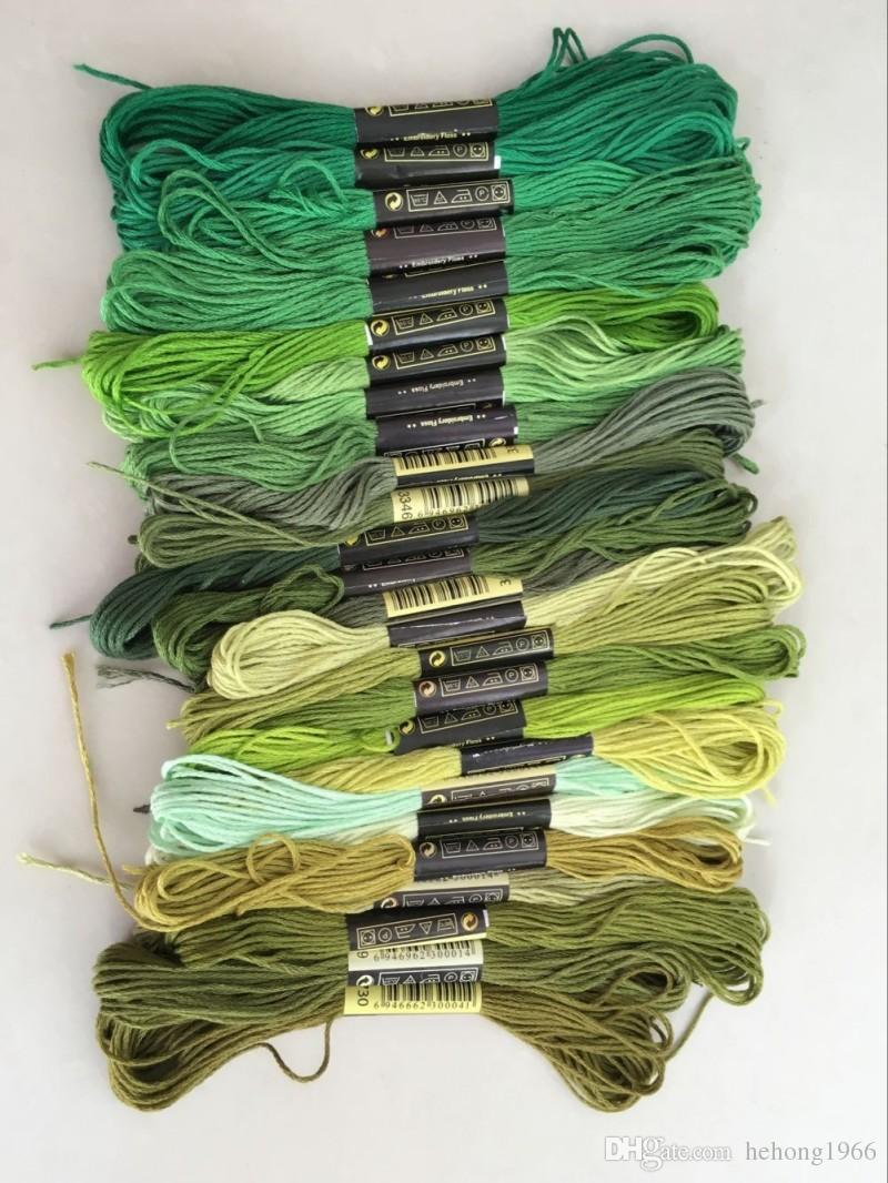 Hilo de punto de cruz Hilo sólido Hilo de bordado de algodón manual Hilos de ropa Hilo de 8 metros Línea de ramificación Suministros de costura Herramienta 12qq D R