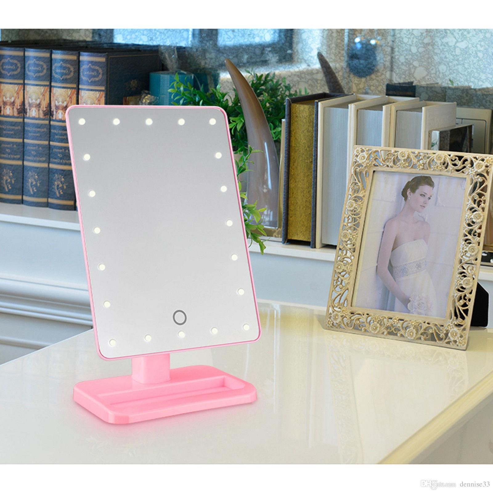 Hot 20 Led Touch Screen Makeup Mirror Professional Vanity Mirror Lights  Health Beauty Adjustable Countertop 360 Rotating Makeup Tool Illuminated  Makeup ...