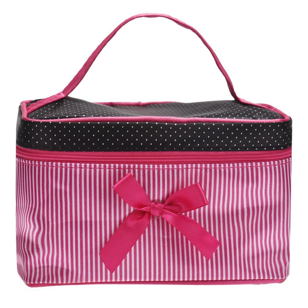 Niedrigster Preis Damen Tasche Square Bow Streifen Kosmetiktasche Big Lingerie BH Unterwäsche Dot Taschen Reisetasche Kulturbeutel Sac