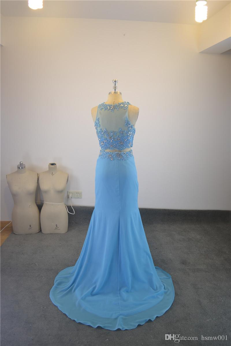2018 Popular Mermaid Sexy Top See Through Two Piece Evening Dresses Beaded Pattern Leg Slit High Long Party Gowns Light Blue