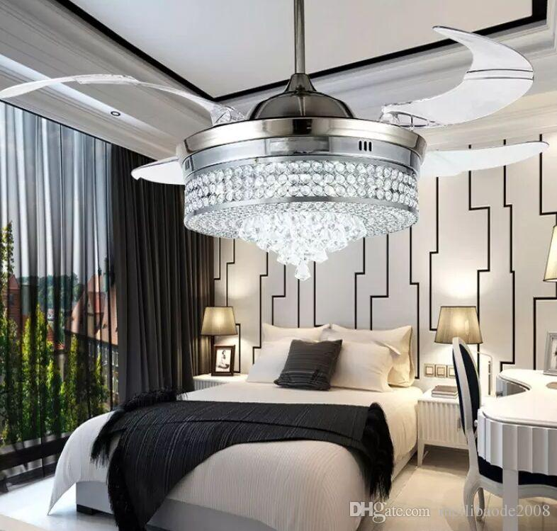 2018 New Invisible Led Crystal Ceiling Fans With Lights Modern ...