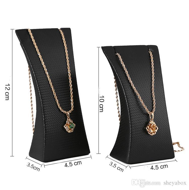 Colar de Jóias Display Stand PU Leather Jóias Pingente Colares Prop para Shop Counter Shelf Quiosque de Exposição