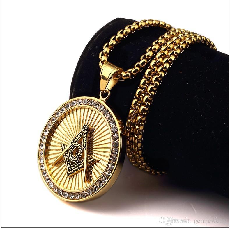 New Iced out Vergoldet Freimaurer Freimaurer Kompass G Runde Anhänger Free-Mason Freimaurerei Hip Hop Halskette für Männer / Frauen