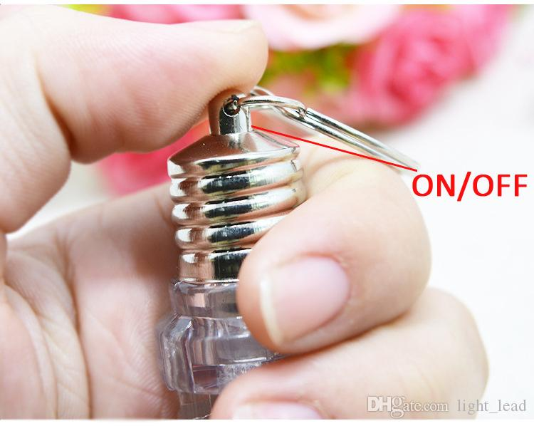 LED Bulb Keychain Flash Light Spiral Bulb Key Chain Colorful Bulb Torch Keyring Cute Luminous Clear Lamp Light Up Toys