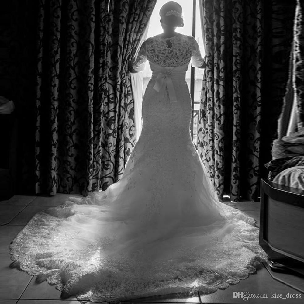Vendite calde Sirena Abiti da sposa Abiti da sposa bianchi Avorio Manicotti in rilievo Sequined Seash Shash Corte Treno 3/4 Abiti da sposa manica lunga W1510