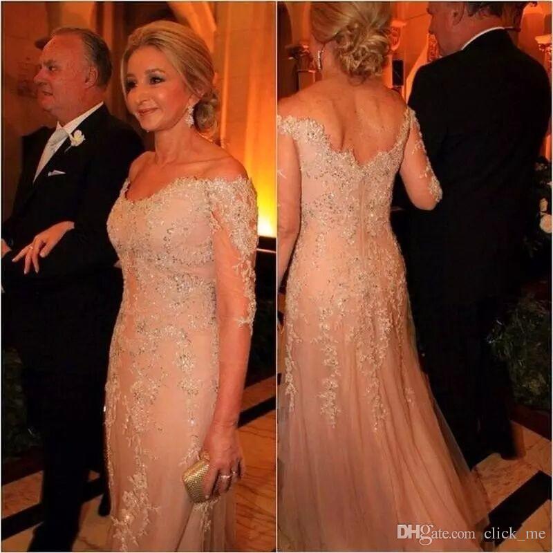 Vestidos de noche de manga larga vintage Vestidos de sirena de encaje de las mujeres formales de Hombro con cuentas más el vestido de fiesta largo Vestido de madre de la novia