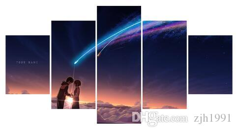 modern home decor art wall painting anime your name poster printed on canvas 5 panel canvas painting for kids room