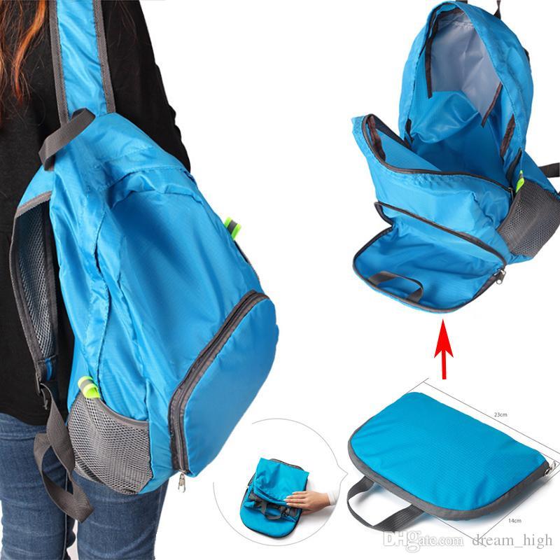 e157ada536ef 2017 Portable Fashion Travel Backpacks Zipper Soild Nylon Back Pack ...