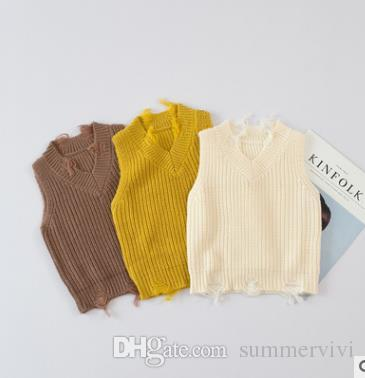 Baby Girls Waistcoats Infants V Neck Hole Sweaters Kids Vest