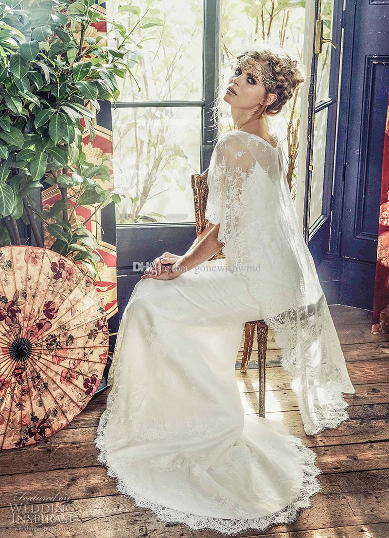 Discount Romantic Half Angle Sleeves Bohemian Wedding Dresses 2018 ...