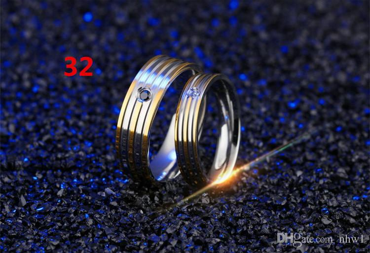Hot Selling Titanium Couple Rings Stainless Steel Rings For Women Men Wedding Rings With Rhinestone Jewelry Engagement Wedding Gift