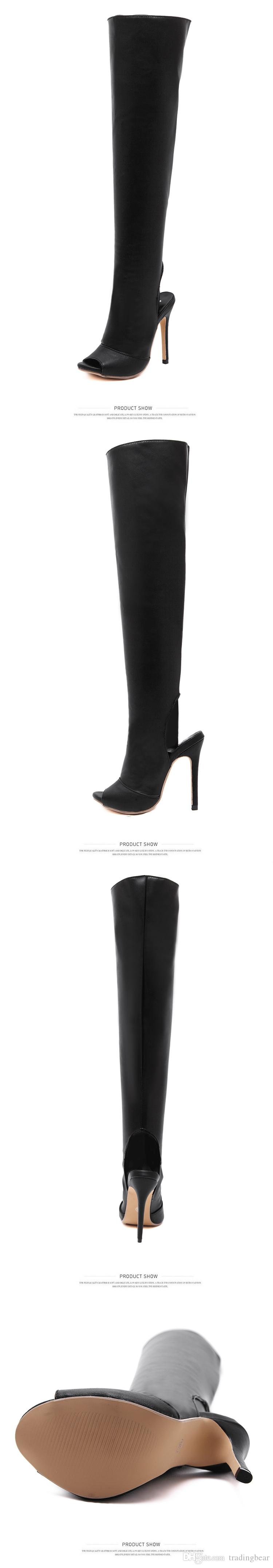 Milan fashion bare heel peep toe slim fit soft leather over the knee thigh high boots Size 35 to 40