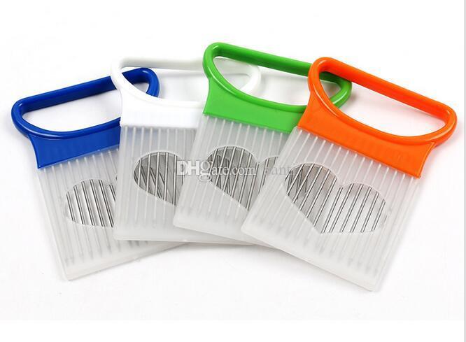 Pratico strumento di cottura della cucina Cipolla Pomodoro Affettatrice verdure Guida di supporto dell'aiuto Dispositivo tagliare la frutta
