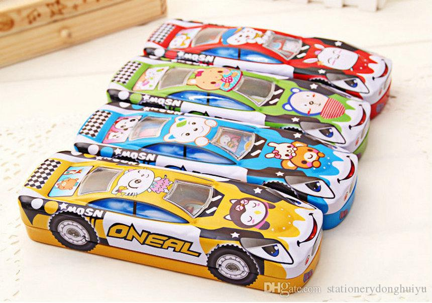 children car design two layer metal pencil box kids fashion toy cartoon pen cases student creative school stationery box kids toy box gifts