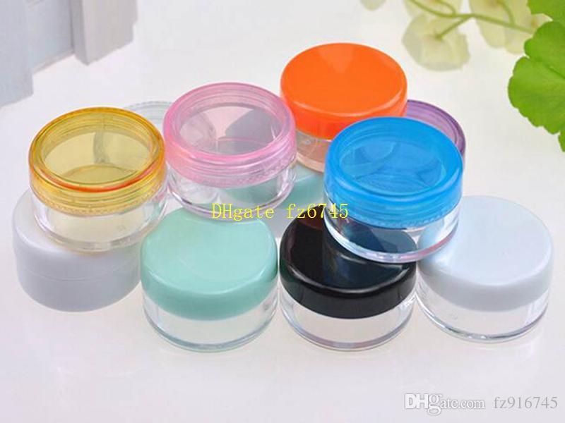 500 unids / lote 3g 5g Colorido Cosmético Frasco Tarro Maquillaje Crema Facial Recipiente Botella Nail Art Powder Caja de almacenamiento Caja de almacenamiento