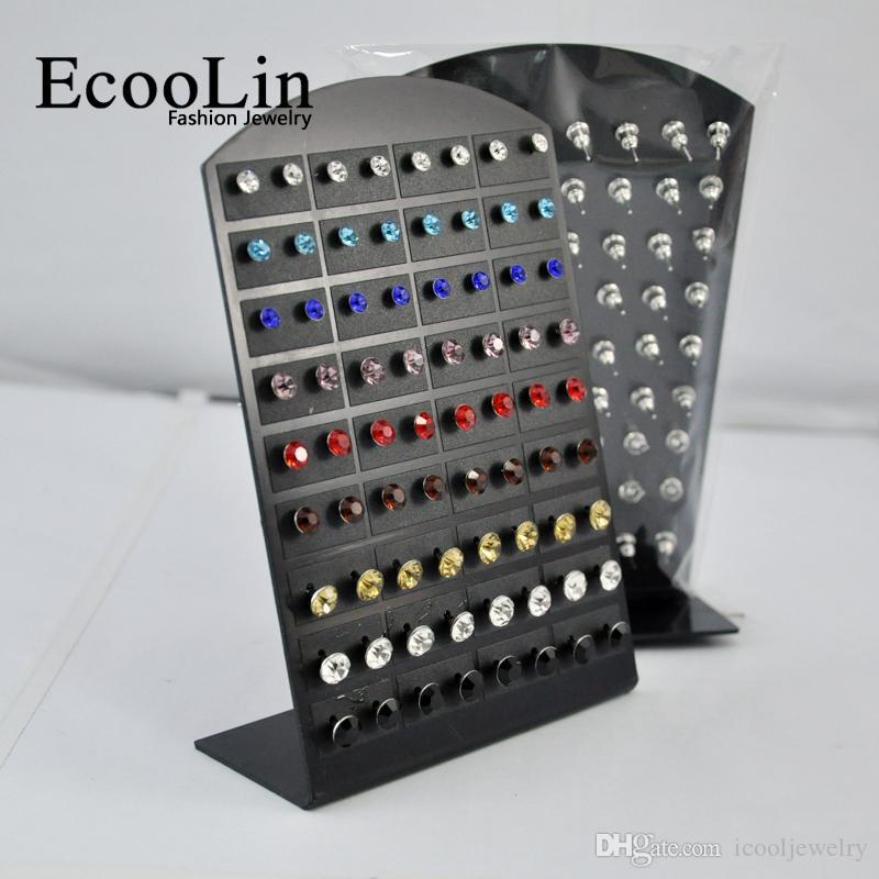 72 pezzi all'ingrosso gioielli lotti all'ingrosso moda in acciaio inox strass multicolor orecchini le donne uomini LR286 spedizione gratuita