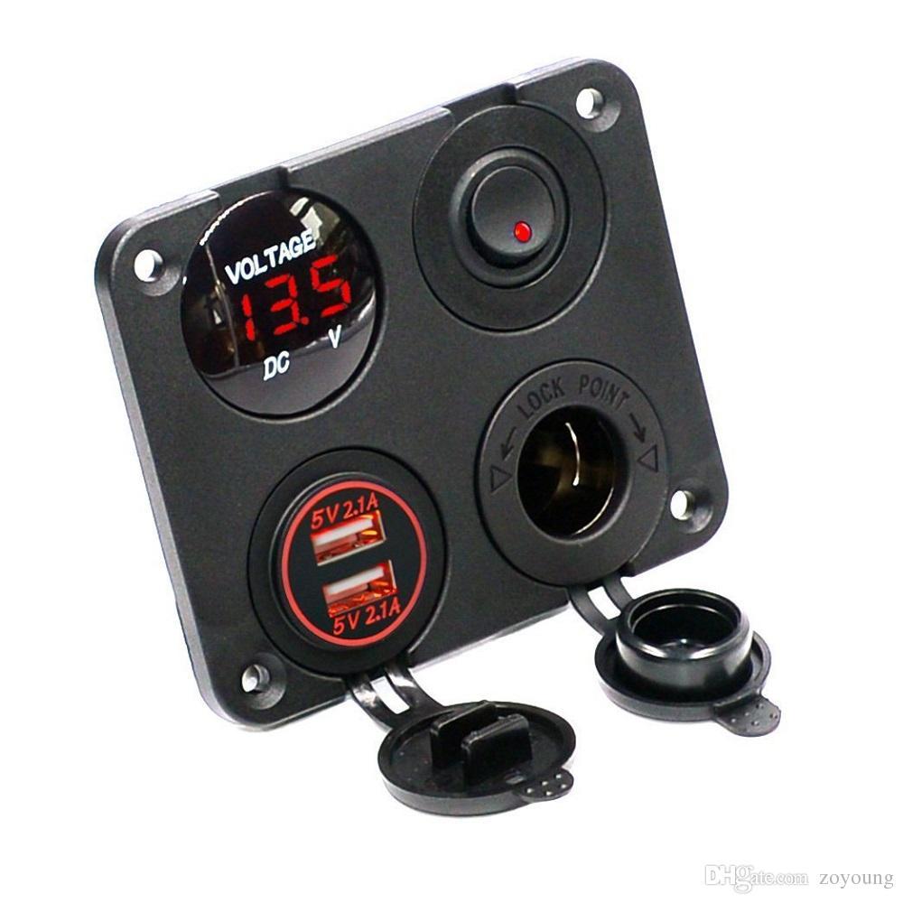 Cuatro funciones Panel Dual USB Socket Charger Voltímetro LED 12V Tomacorriente ON-OFF Interruptor de palanca para vehículo Barco Marine RV Truck Camper Vehículo