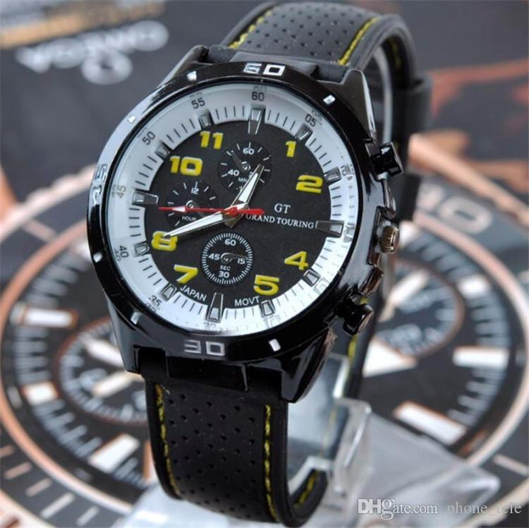 Luxury GT Grand Touring Men Watch Mens Military Watches GT Brand Sport Silicone Strap Wristwatches Fashion Quartz Dress Wrist Watch 2017
