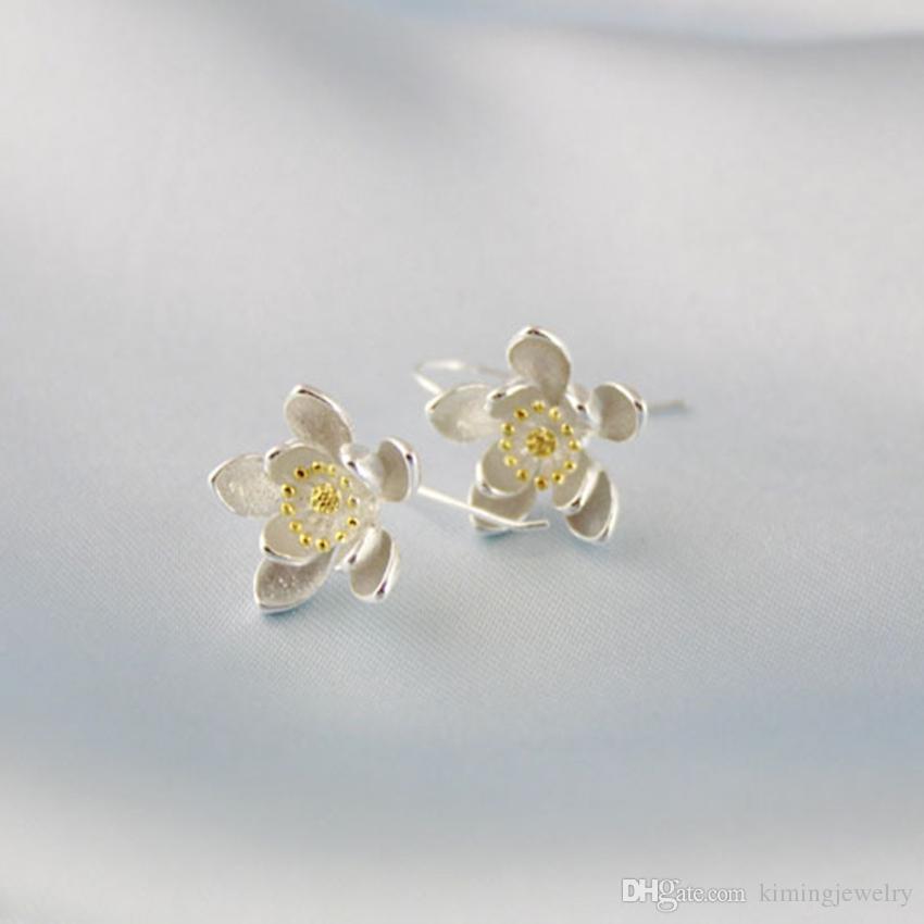 Fashion Pure 925 Sterling Silver Drop Earrings Lotus Flower Earrings Jewelry Pendientes Brincos Fashion Jewelry