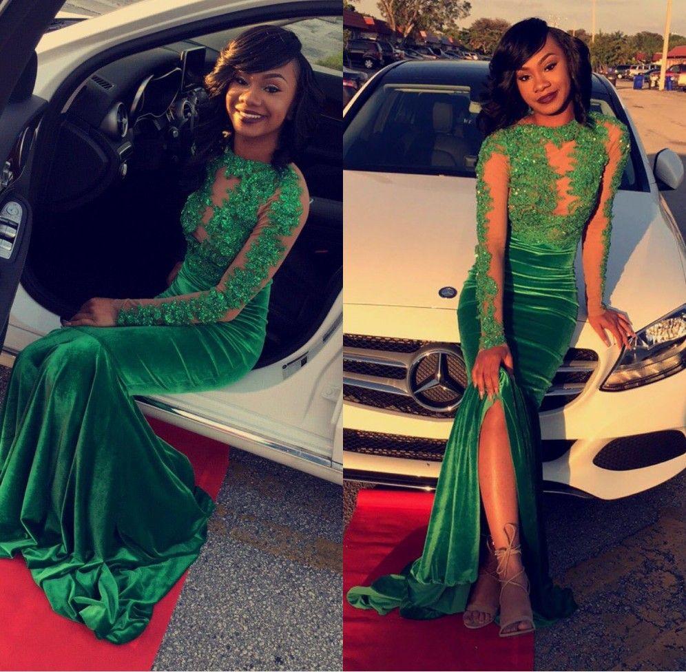African Emerald Green Velvet Evening Dresses 2017 Jewel Appliqued ...