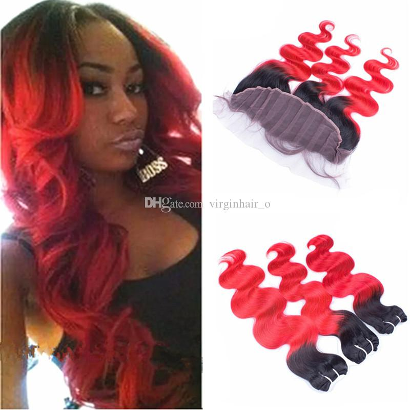 Red Ombre Hair With Frontal Closure Black And Red Dark