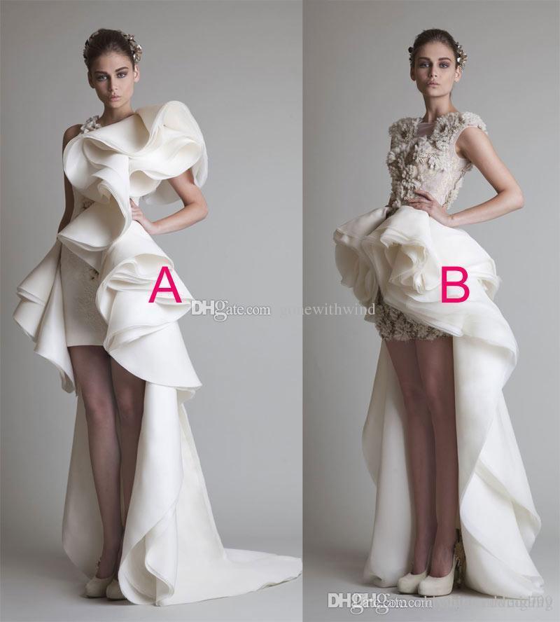 High Low Ball Gown Ruffles Overskirt Wedding Dresses 2017 Krikor ...
