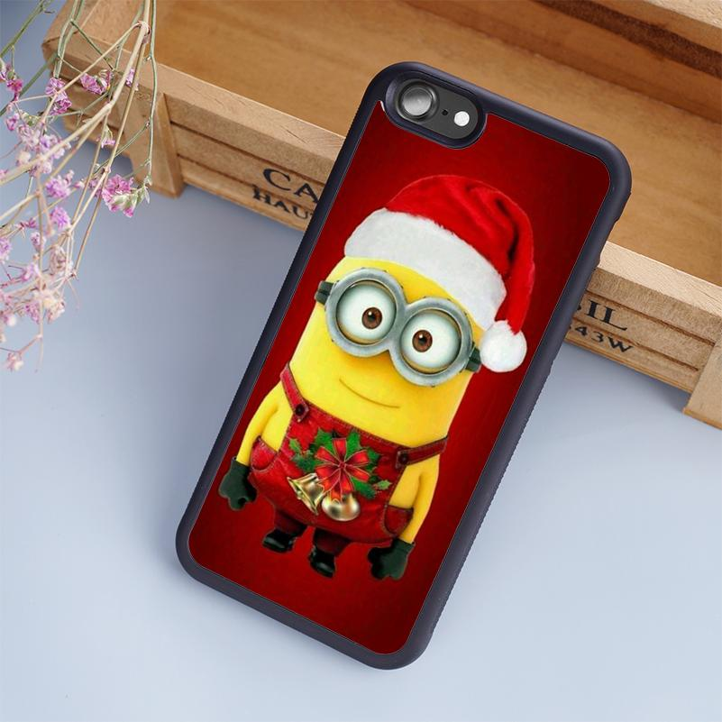 merry christmas minions cellphone cases for iphone 6 6s plus 7 7 plus 5 5s 5c se 4s back cover cell phone case wholesale clear cell phone cases from ginazsl - Christmas Minions