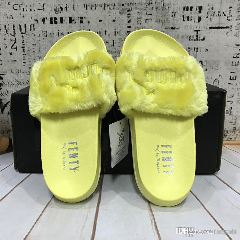 2017 Wholesale New Style puma Leadcat Fenty Rihanna Chaussures Hommes Femmes Pantoufles Sandales Intérieures Filles Éraflures