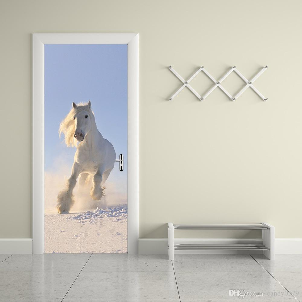 The Running Horse Door Stickers 3d Pvc Self Adhesive Wallpaper Waterproof  Door Decoration Bird Wall Stickers Black Wall Art Stickers From Candy0579,  ...
