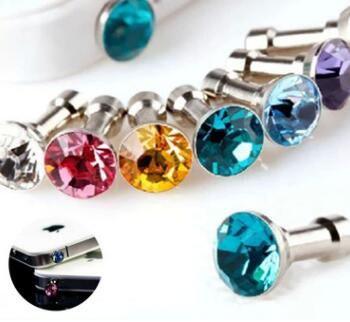 Fashion Anti-Dust Gadgets Luxury Phone Accessories Small Diamond Rhinestone 3.5mm Dust Plug Earphone Plug For Cell Phones