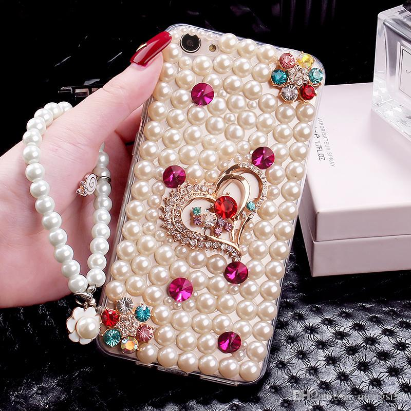 competitive price 8cf0a a3919 10pcs Crystal Heart Diamond pear Chain glitter phone case cover for iphone  7 8 plus Samsung s8 plus note 8 Huawei P10 plus