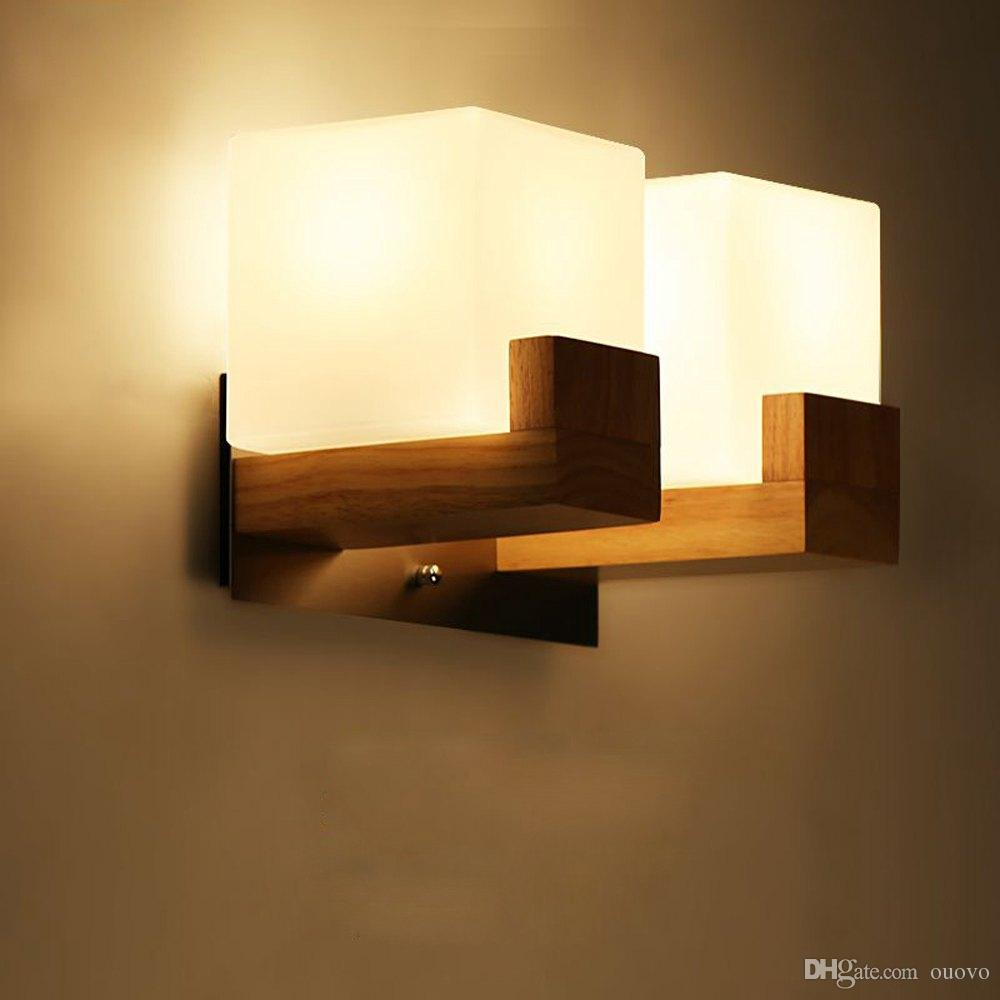 2019 Contracted Anese Wooden Corridor Wall Lamp Chinese Bedroom Sconce White Acrylic Cube Bedsides Stair Case Lighting Fixtures From Ouovo