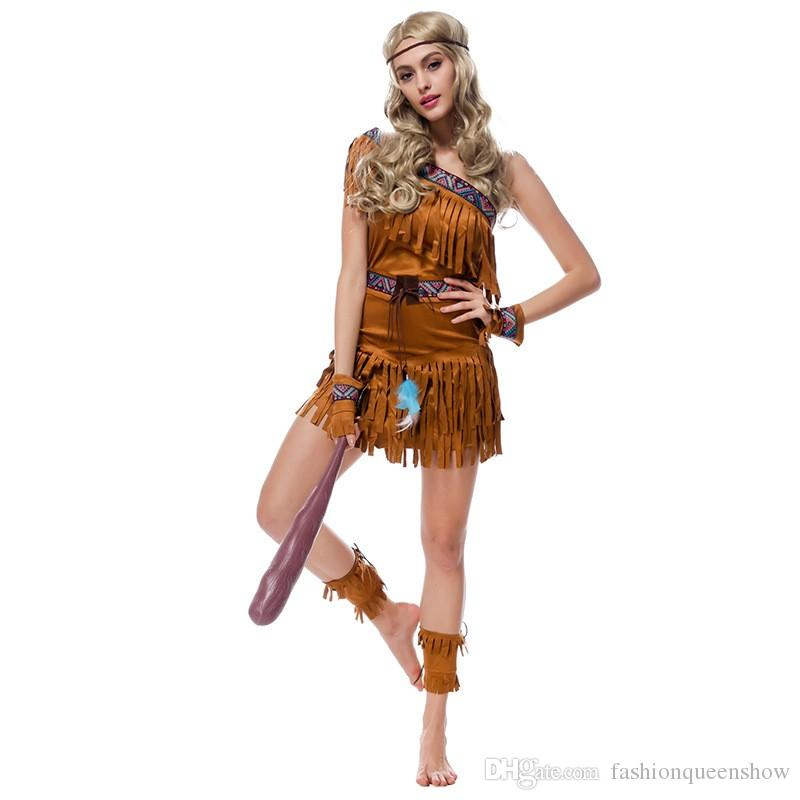 Indian Indigenous Clothing Flintstone Uniform Sexy Women Costumes Fringed Savage Forest Hunter Halloween Party Cosplay Dress
