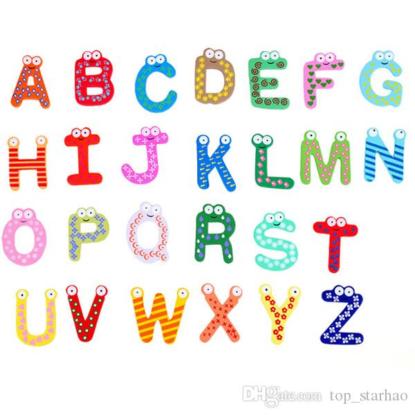 5cm Baby Kids Wooden Alphabet Letters Baby Educational Learning Toys Refrigerator Message Board 1 Set=26pcs Bright In Colour Office & School Supplies