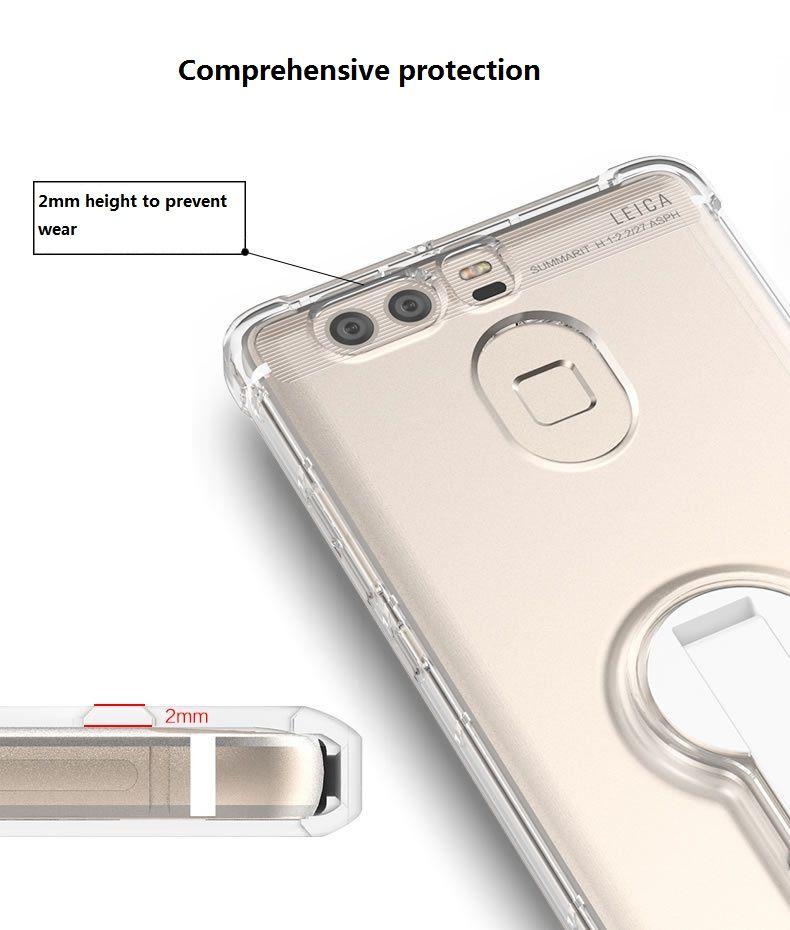 화웨이 p9 / 플러스 휴대 전화 포탄 휴대 전화 보호 슬리브 360도 회전 브래킷 투명