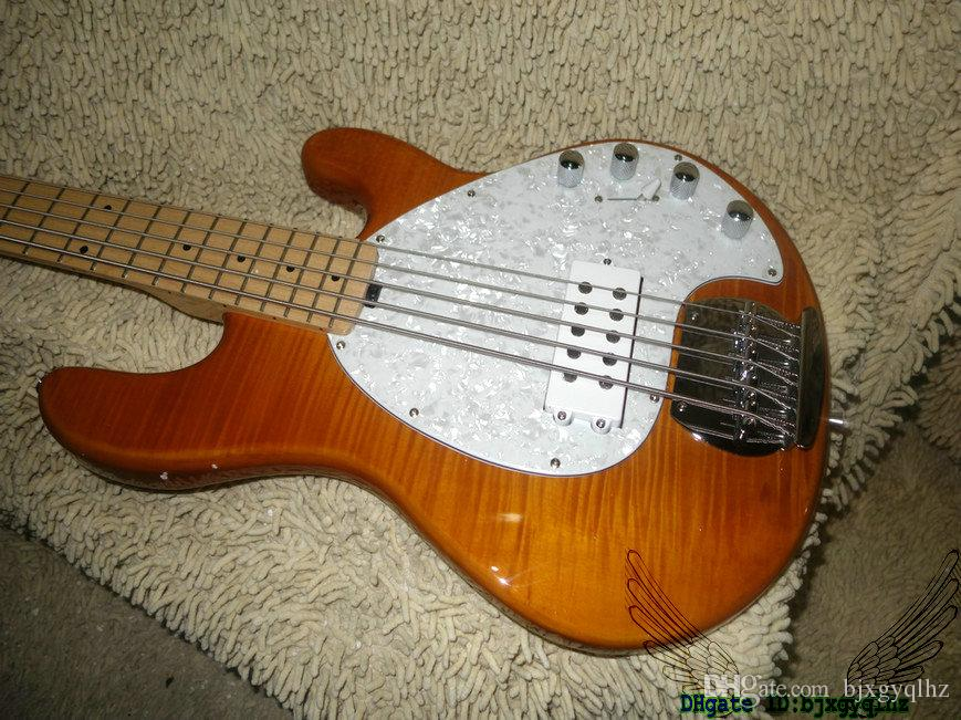 Brown Flame Top StingRay 5 Electric Bass Maple Fingerboard New Arrival OEM From China