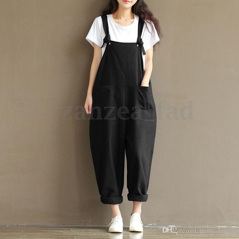 Mujer Correa Dungaree Monos Guardapolvos Larga Harem Pantalones Pantalones