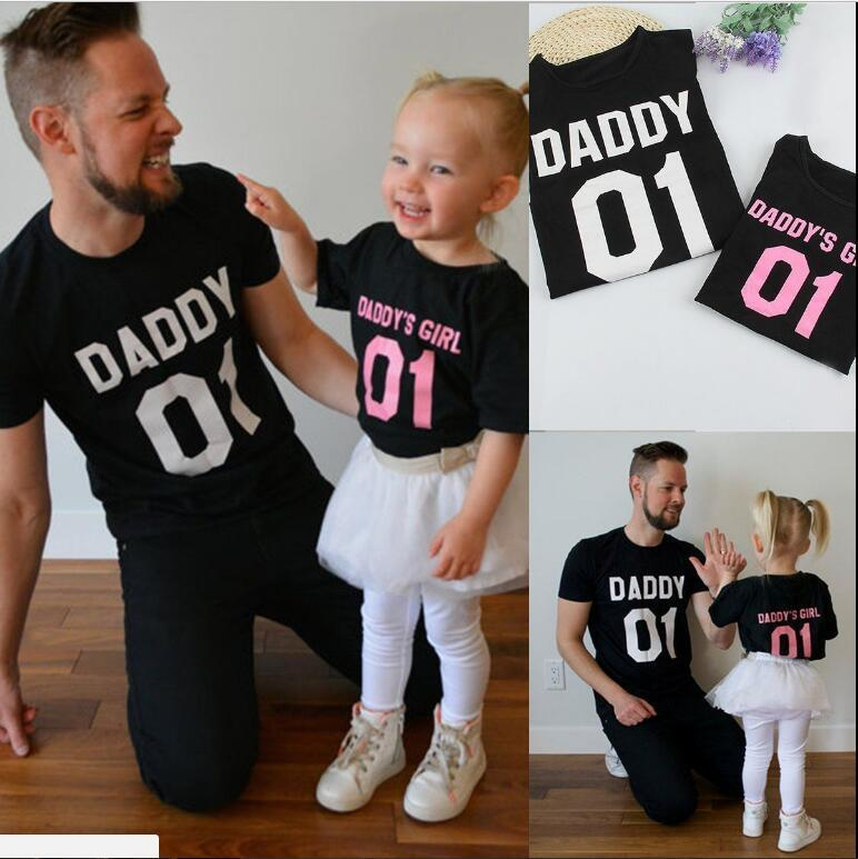 464bd985d 2017 NEW Hot DADDY'S GIRL Father & Daughter T shirt Tops Family Matching Tee  Clothes parent-child clothing