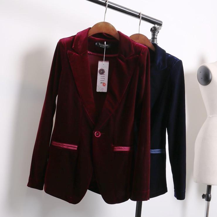 2018 red blue velvet blazer women bleu marine ladies blazer designs women suit jacket winter. Black Bedroom Furniture Sets. Home Design Ideas