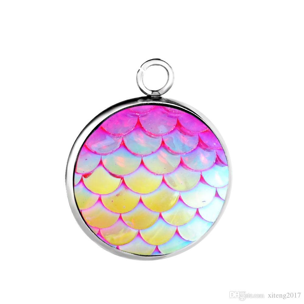 Charms DIY Jóias Stainless Steel 12MM Mermaid Escala pendente para Beauty Brincos Colar da escala de peixes de jóias charme fazendo entregas